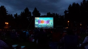 outdoor movie, Home, in Parksville