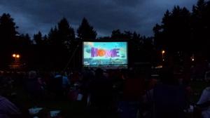 outdoor movie, Home, in Parksville